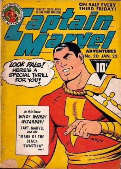 Captain Marvel Adventures 20 - Captain Marvel - No 20 Jan 22 - Wild - Mark Of The Black Swastika - Mantle - Clarence Beck