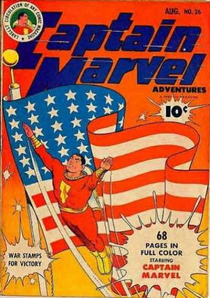 Captain Marvel Adventures 26 - Flag - Patriotic - Superhero - Stars - Stripes - Clarence Beck
