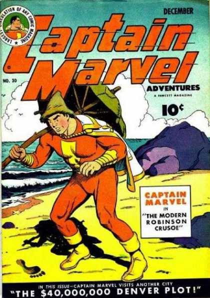 Captain Marvel Adventures 30 - December - Denver Plot - Beach - Umbrella - Modern Robinson Crusoe - Clarence Beck