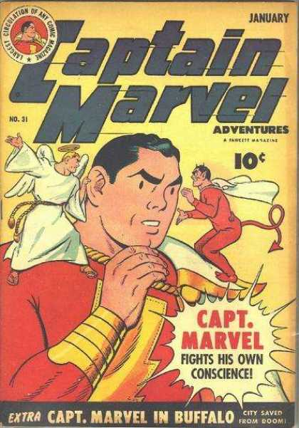 Captain Marvel Adventures 31 - Angle - Devil - Halo - Bolt - Red Outfit - Clarence Beck
