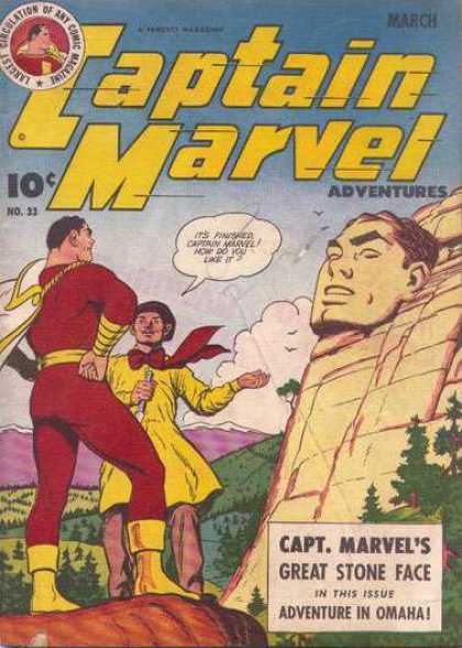 Captain Marvel Adventures 33 - Mountain - Sky - Birds - Cloud - Trees - Clarence Beck
