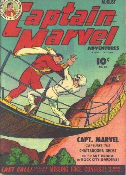 Captain Marvel Adventures 38 - Chattanooga Ghost - Missing Face Contest - Sky Bridge - Rock City Gardens - Mountain - Clarence Beck