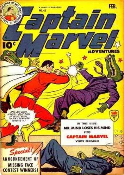 Captain Marvel Adventures 43 - Mr Mind Loses His Mind - Adventures - White Cape - Yellow Boots - Alligator Dressed In Suit - Clarence Beck
