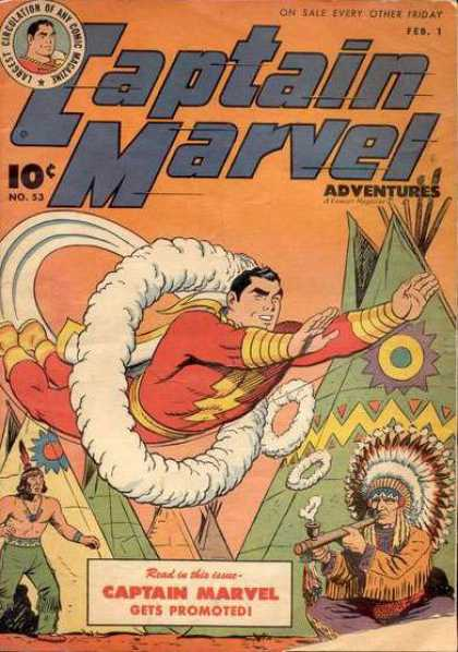 Captain Marvel Adventures 53 - Smoke Rings - Indians - Teepee - Promoted - Peace Pipe - Clarence Beck