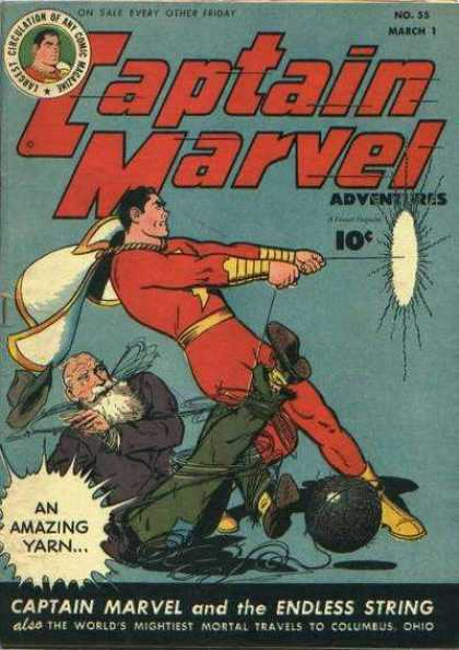 Captain Marvel Adventures 55 - An Amazing Yarn - March 1 - Cap - Rope - Moustache - Clarence Beck