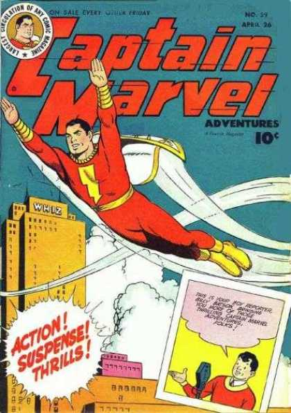 Captain Marvel Adventures 59 - Action - Suspense - Thrills - Flying - Billy Batson - Clarence Beck