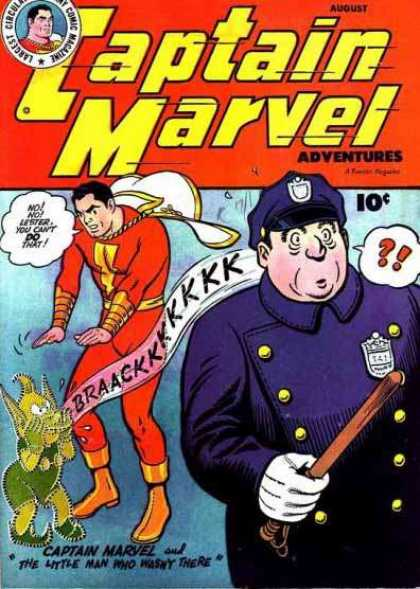 Captain Marvel Adventures 64 - The Little Man Who Wasnt There - No No Lester You Cant Do That - Cop - Nightstick - Badge - Clarence Beck