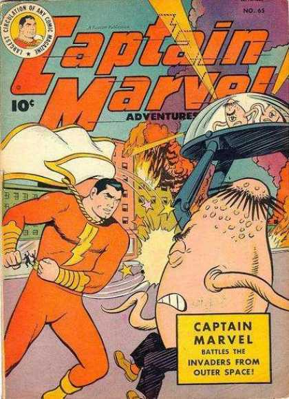 Captain Marvel Adventures 65 - 10 Cents - Invaders From Outer Space - Aliens - Superhero - Spaceship - Clarence Beck