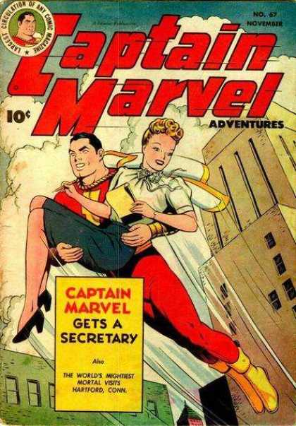 Captain Marvel Adventures 67 - Building - Sky - Fly - Woman - Pencil Skirt - Clarence Beck