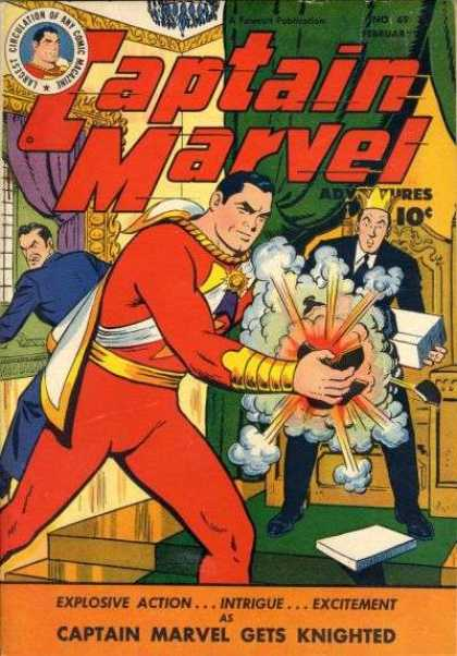 Captain Marvel Adventures 69 - Captain Marvel Gets Knighted - Gold Wrist Band - Green Curtain - Explosive Action - Gold Crown - Clarence Beck
