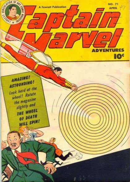 Captain Marvel Adventures 71 - The Wheel Of Death - Concentric Circles - Fleeing - People - Flying - Clarence Beck