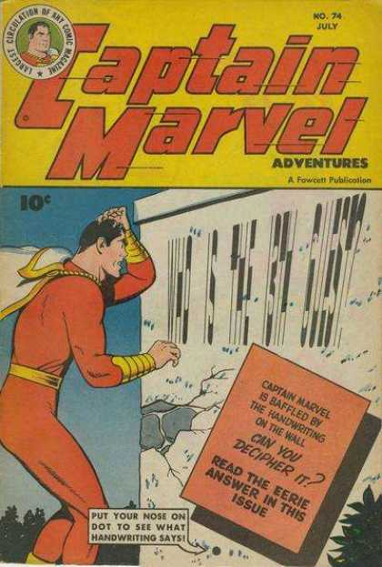 Captain Marvel Adventures 74 - Captain Marvel - 13th Guest - Handwriting - Baffled - July - Clarence Beck