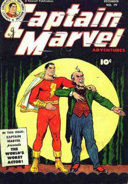 Captain Marvel Adventures 79 - Red Suit - White Cape - Actor - Spotlight - Stage Curtain - Clarence Beck