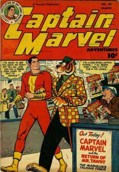 Captain Marvel Adventures 82 - Captain Marvel - Mr Tawny - Tiger Suit - Walking Talking Tiger - Long Way From The Jungle - Clarence Beck