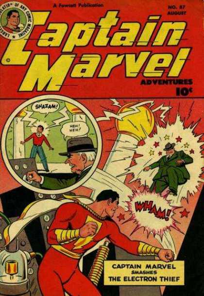 Captain Marvel Adventures 87 - Captain Marvel - Shazam - Electron Thief - Electricity - Captain Marvel Smashes Electron Thief - Clarence Beck