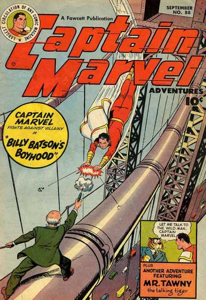 Captain Marvel Adventures 88 - Billy Batsons Boyhood - Bridge - Water - Mr Tawny - Talking Tiger - Clarence Beck