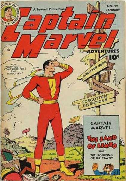 Captain Marvel Adventures 92 - Forgotten Books - Wooden Sign - Land Of Limbo - Fawcett Publication - Red Suit - Clarence Beck