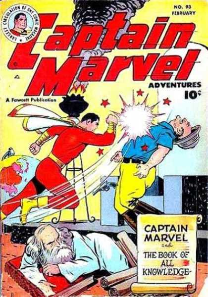 Captain Marvel Adventures 93 - Punch - Fire - Globe - The Book Of All Knowledge - Black Smoke - Clarence Beck