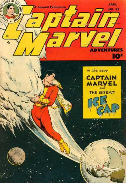 Captain Marvel Adventures 95 - Snow - Stars - Ice Cap - No 95 - Captain Marvel - Clarence Beck