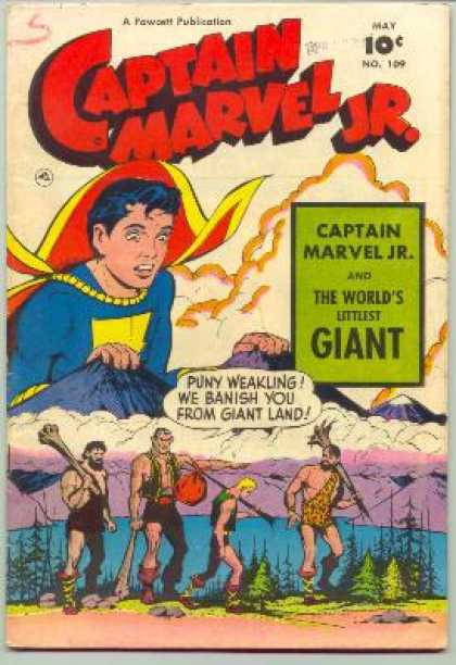 Captain Marvel Jr. 109 - Purple Mountains - Blue Water - Giants - Green Trees - Small Weakling