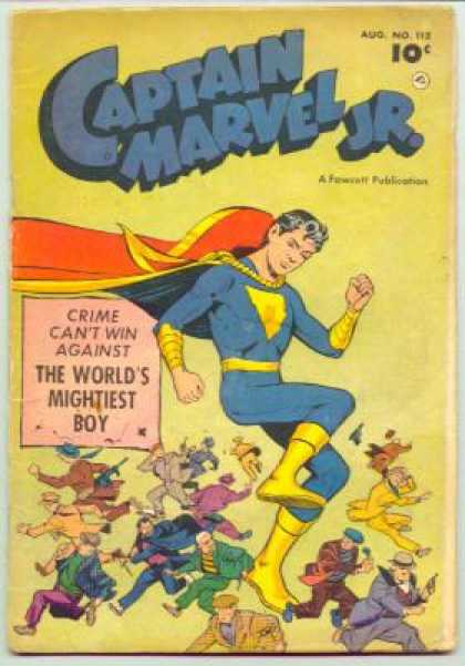 Captain Marvel Jr. 112 - The Worlds Mightiest Boy - A Fawcett Publication - Crime Cant Win - Criminals - No 112