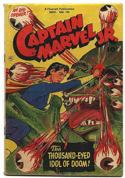 Captain Marvel Jr. 115 - Monster - Eyeballs - Teeth - Man - Blood
