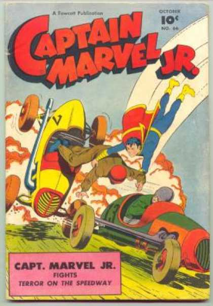 Captain Marvel Jr. 66 - Boy Flying Rescuing Race Car Driver - 2 Race Cars On Front - Terror On The Sweedway - Teen Superheroes - Fighting Terror