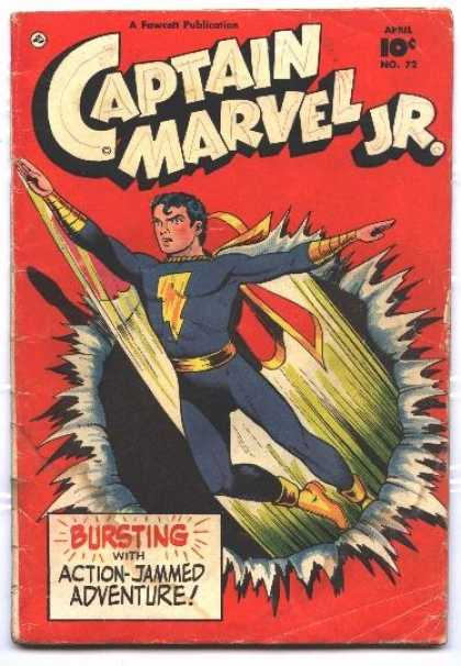 Captain Marvel Jr. 72 - Lightning - Cape - Blue Suit - Bursting With Action-jammed Adventure - Yellow Boots