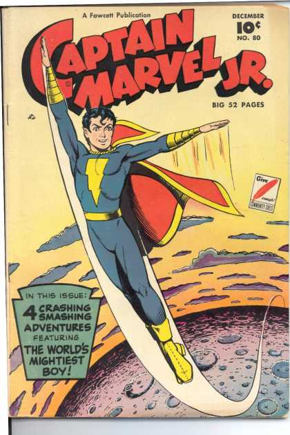 Captain Marvel Jr. 80 - Shazam - Power - Moon - Spaceships - Flying