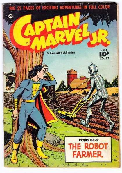 Captain Marvel Jr. 87 - Donkey - Plow - Tinman - Furrow - Barn And Silo