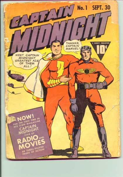 Captain Midnight 1 - Captain Marvel - Radio And Movies - Airplanes - Cape - Gloves