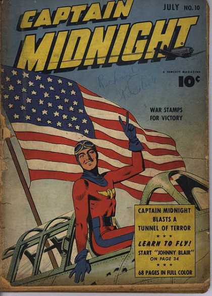 Captain Midnight 10 - War Stamps For Victory - American Flag - Johnny Blair - Tunnel Of Terror - Learn To Fly