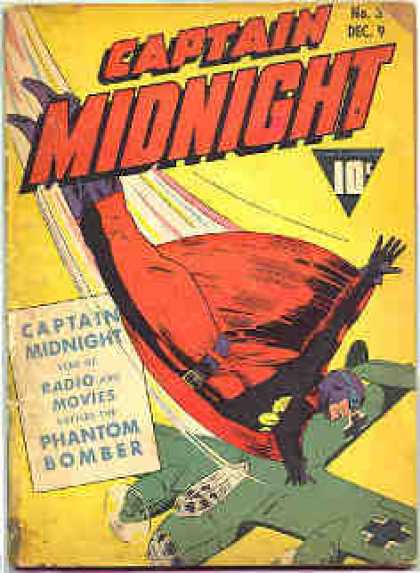 Captain Midnight 3 - Plane - Cross On Plane - Diving - Red Cape - Purple Mask