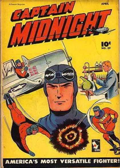 Captain Midnight 39 - Scientist - Pilot - Flying - Explosion - Airplane