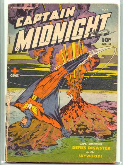 Captain Midnight 51 - Volcano - Lava - Island - Wing Symbol - Red Cross