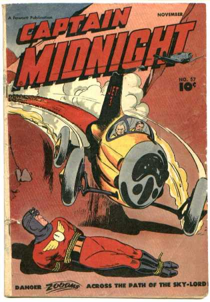 Captain Midnight 57 - Airplane - 10 Cents - Fawcett - Aircraft - Banger