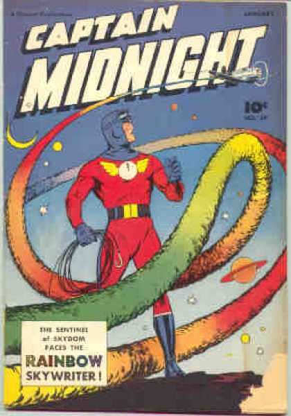 Captain Midnight 59 - Super Hero - Science Fiction - Rainbow - Airplane - Skywriter