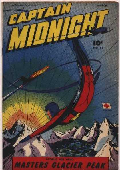 Captain Midnight 61 - Flying - Airplane - Bomb - Red Cross Flag - Mountains
