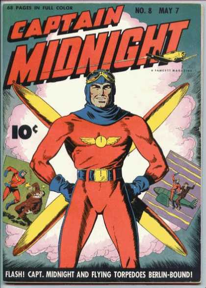 Captain Midnight 8 - 68 Pages In Full Color - Costume - Airplane - Battle - Flash