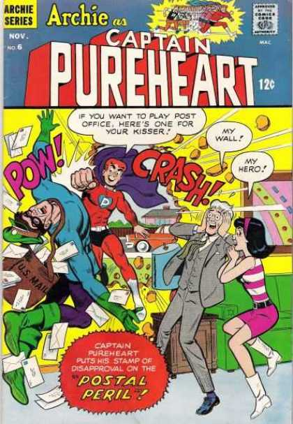 Captain Pureheart 6 - Approved By The Comics Code - Archie Series - Superhero - Woman - Us Mail