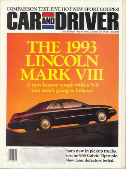 Car and Driver - December 1992