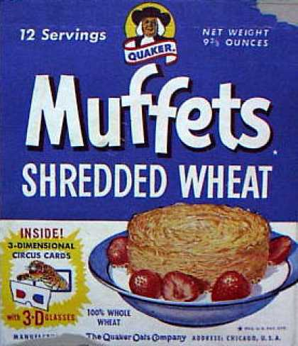 Cereal Boxes - Quaker Muffets Shredded Wheat
