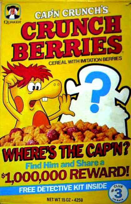 Cereal Boxes - Where's the Cap'n w/ Crunchberry Beast