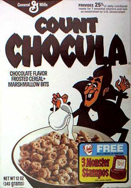 Cereal Boxes - Count Chocula pouring milk