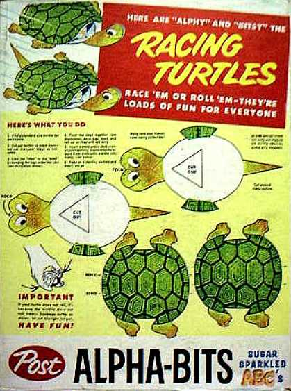 Cereal Boxes - Racing Turtles cut out