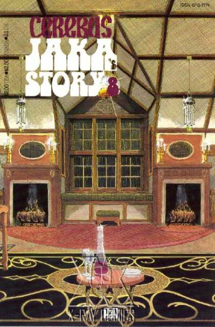 Cerebus 121 - Jaka Stories - Ceiling - Windows - Two Fireplaces - Wine Glasses - Dave Sim