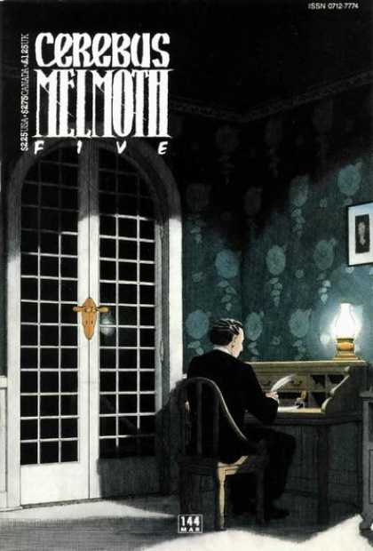 Cerebus 144 - French Doors - Seated Man - Desk - Quill - Lantern - Dave Sim