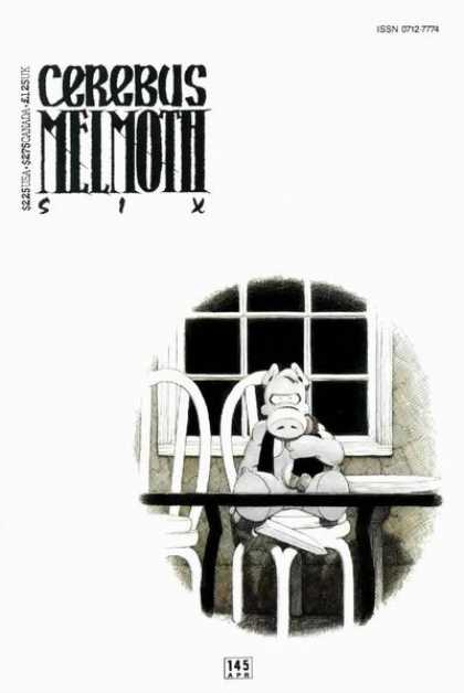 Cerebus 145 - Chairs - Small Table - Large Knife Blade - Window Pane - Animal Creature - Dave Sim
