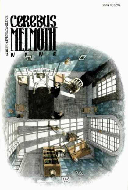 Cerebus 148 - Bed - Death Bed - 148-july - Blue Room - Lighted Room - Dave Sim
