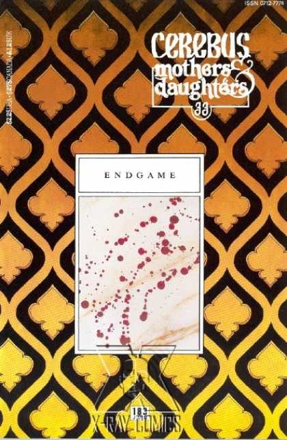 Cerebus 183 - Mothers U0026 Daughters - Endgame - Spades - Blood Splatter - Patterned Background - Dave Sim